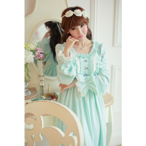 Free Shipping Comfortable Crystal Velvet Winter Nightgown Women's Long Sleepwear Princess Pijamas
