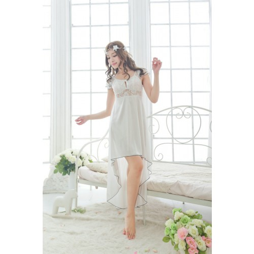 sexy silk sleepwear lace irregular nightown night gown long lounge dress