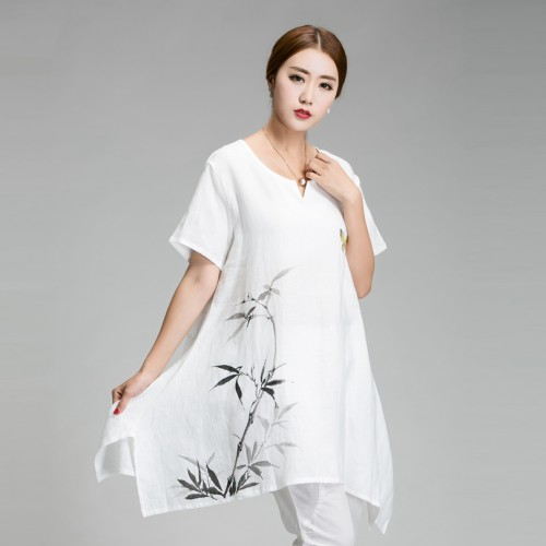 New 2016 China style Hand-painted big size clothing Summer asymmetrical cotton linen T-shirt big size loose Fluid Systems 5XL6XL