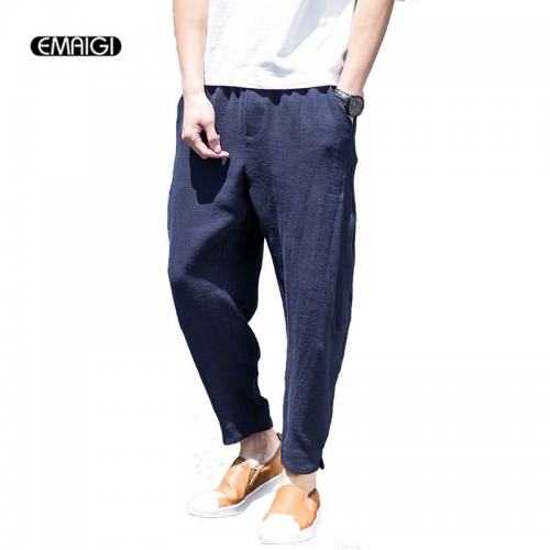2017 Spring Summer New Mens Casual Pant Cotton Linen Loose Harem Pants Straight Men's Thin Trousers Jogger