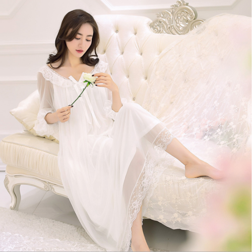 2017 Spring Summer Brand nightgown Women White Lace long dress Ladies Supersoft Modal Nightdress Female Silk Sex nighty dresses