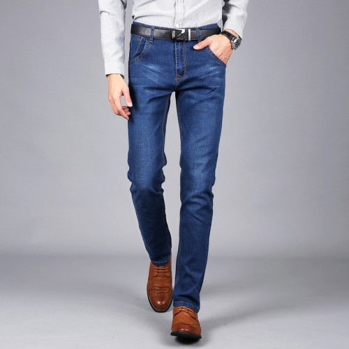 bf91f5f8918 Male lightweight denim jeans pants 2017 summer fashion new plus size slim  fit elastic business casual ...