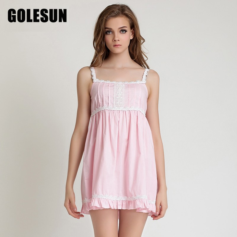 Golesun Summer 100% cotton spaghetti strap sexy nightgown royal lounge  white sleepwear princess slim short 97b6ef529