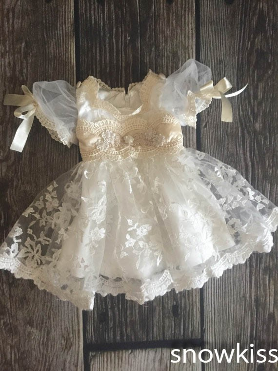 b95ae5021c91 2016 new summer white/ivory lace infant baptism baby christening gowns  short princess first communion