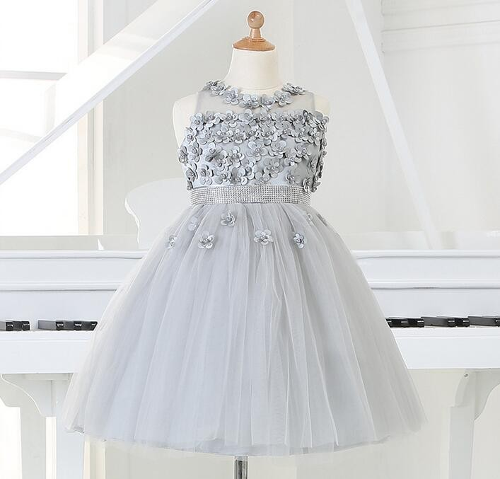 5a3169d1cfe2 2016 Baby Girl 1 year Birthday Dress Silver Beaded Party Dress ...