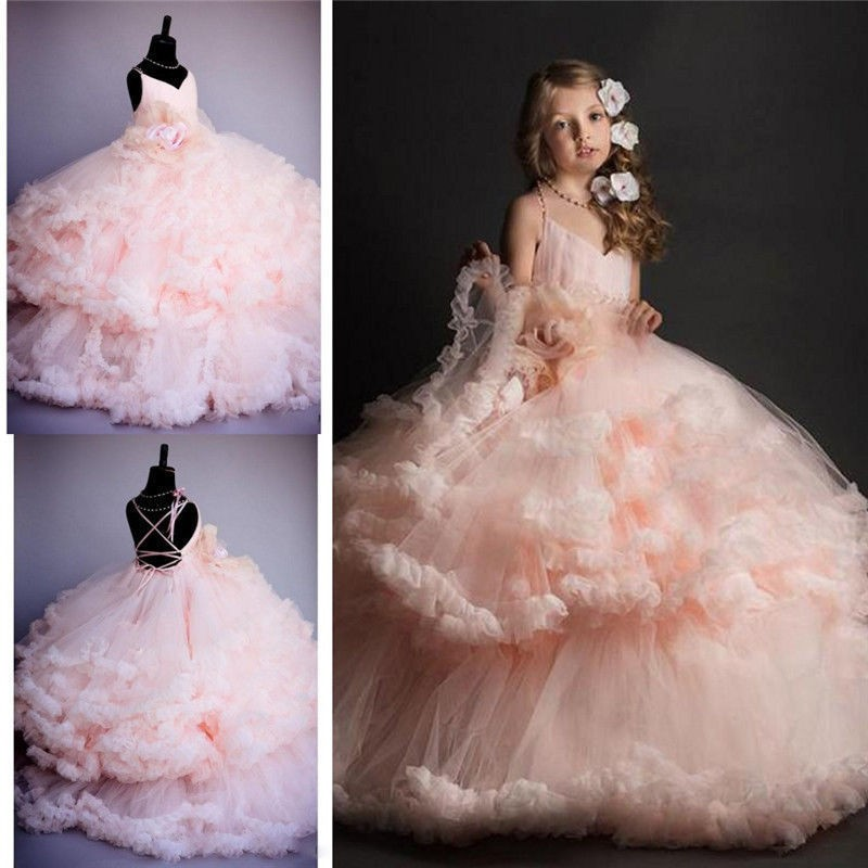 Pink Tulle Princess Bridesmaid Flower
