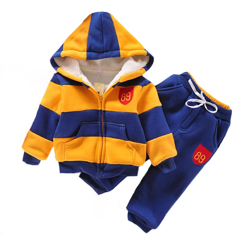 baby boy clothes kids clothes sports suit for boys winter clothing set  girls clothes Plus Velvet Thicken Children's clothing