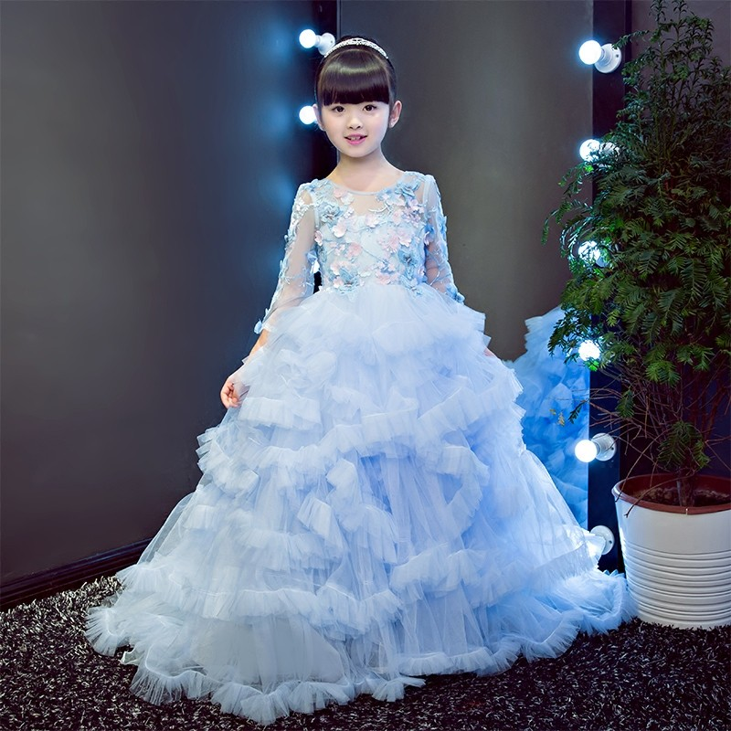European baby girls elegant lace flowers dresses children long ...