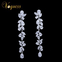 VOGUESS Luxury Flower Wedding Earrings with AAA Cubic Zirconia Gorgeous Bridal Earrings Wedding Accessories New Year Gift