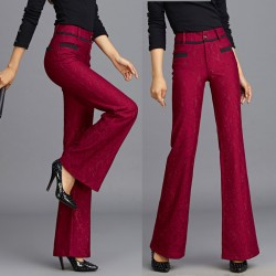 Autumn Winter Womens Fashion Elegant Red Blue Lace Patchwork Flare Pants , Formal Casual Female XXXL Slim High Waisted Trousers