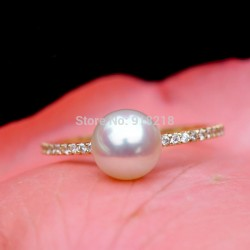 Need luster AKOYA natural seawater pearl Japan 18K gold ring 2017 newest ladies jewelry Pearl engagement ring