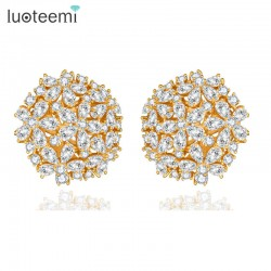 LUOTEEMI Champagne Gold Color Pure Clear AAA Cubic Zirconia Flower Big Stud Earrings for Women Luxury Bridal Jewelry