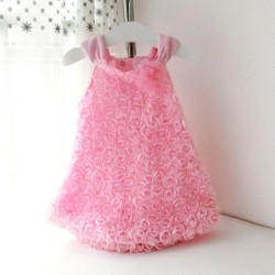 New Summer Style Baby Girls Rompers Dress Infantil Sleeveless Rosette Flowers Dresses Baby Girls Princess Suspender Dress