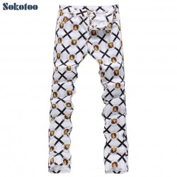 Sokotoo Men's fashion lion print denim jeans Male slim fit white thin denim pants Long painted trousers Free shipping