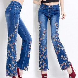 Spring Summer Vintage Womens Designer Decorated Embroidery Flower Flare Jeans , Female Stretch Slim Laxury Denim Flared Trousers