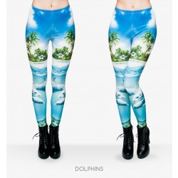 Funny Long Skinny Pants New Polyester 3D dolphins Printed Women Girl Leggings