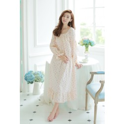 Free Shipping 2015 New Autumn Princess Style Women's Long Nightgown Floral Sleepwear Vintage Pyjamas roupao feminino
