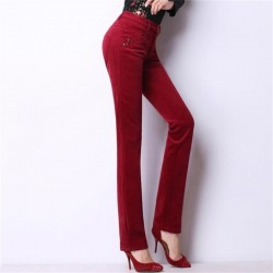 Free Shipping Women's Autumn And Winter Plus Velvet Corduroy Streight Pants Lady's High Waist Large Size Warm Trousers 28-38