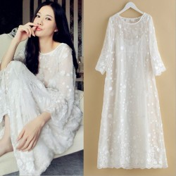 2017 women high quality silk embroidered nightgown long-sleeve spaghetti strap twinset sleepwear full dress vestidos de festa
