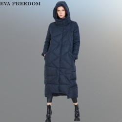 High Quality 2016 Italy Fashion Women Parka Winter Jacket Female X-Long White Duck Down Parkas Coat Thick Hoody Winter Down Coat