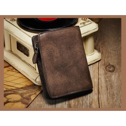 Vintage Design Genuine Leather Women Short Wallet Purse Card Holder Wallet Zipper Coin Pocket Leather Male Female Bifold Wallet