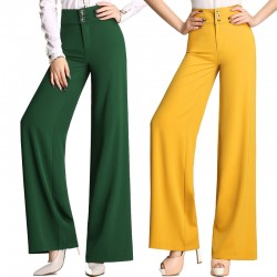 2017 Fromal Fashion Autumn Spring Womens Yellow Green High Waist Wide Leg Loose Trousers , Fall Woman Slim Elegant Pants