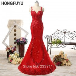HONGFUYU Sexy Spaghetti Strap Mermaid Tulle Lace Beaded Long Red Prom Dresses 2016 Vestidos De Gala Court Train 12191