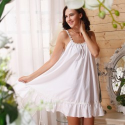 women spaghetti strap sexy nightgown white 100% cotton plus size maternity lounge sleepwear night dress skirt
