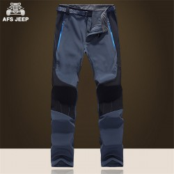 AFS JEEP 2016 Thick Cashmere Mid elasticity waist Pants,casual Water Proof Fleece Inner Keep Warm Profession Patchwork Pant