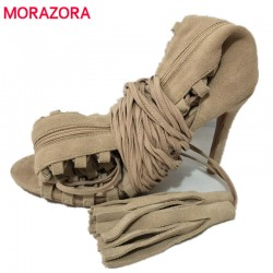 MORAZORA Plus size 34-43 new sexy knee high gladiator sandals high heels lace up suede summer boots thin heels party dance shoes