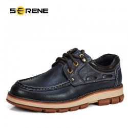 SERENE Brand 2017 Men Leather Shoes Fashion Men Ankle Heigh-increasing Casual Shoes Working Shoes Tooling Dress Shoes 3 Colors
