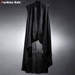 Men's Wrinkled Linen Long Cardigan Shirt Unique Fashion Brand Designer Black Thin Sleeveless Cape Summer New