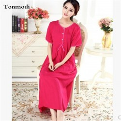 2016 New Fluid Systems Solid Cotton Linen Long Nightgowns Loose Princess Nightdress