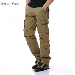 Fashion Military Cargo Pants Men Loose Baggy Brand Trousers Oustdoor Casual Cotton Cargo Pants Men Multi Pockets Big size