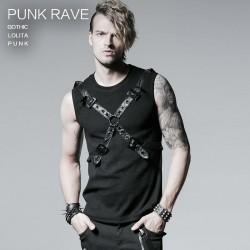Gothic Casual Summer Style Black Rib Vest With Ether Belt Men Shirt T3