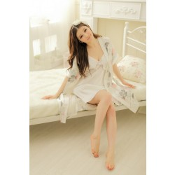 sexy silk sleepwear luxury flower robe+dress+band nightown sleepwear lounge sleepshirt