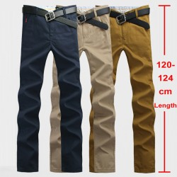 120cm Extra Long Mens Chinos Pants Plus Size 28~44 Mens Casual Pants Slim Straight Stonewash Male Twill Trousers Khaki Navy 812