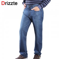 Drizzte Plus Size 38 40 42 44 46 Light Blue Relax Straight Casual Blue Jeans Denim Trousers Pants Large Big Size Jean For Men