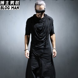 2016 summer New fashion men half sleeve with a hood t-shirt asymmetrical half sleeve thin shirt singer nightclub show costumes