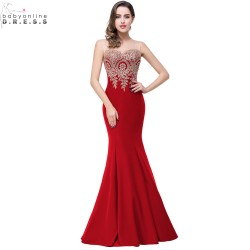 Robe de Soiree Longue Sexy Backless Red Mermaid Lace Evening Dress 2017 Long Cheap Appliques Evening Gowns Vestido de Festa