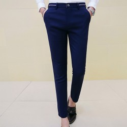 Ankle Length Trousers Skinny Dress Pants Male Fashion Elastic Casual Pants Summer The Trend Of Black Azul Suit Pants