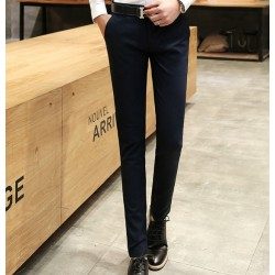 Male Summer Elastic Casual Pants Trousers Tidal Current Male Slim Trousers Black Navy Blue Dress Pants