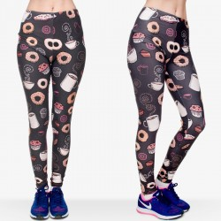 Girls Leggings Women 3D Funny Coffee Donuts Printing Basic Casual Leggings High Waist Elastic Pant
