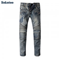 Sokotoo Men's casual patch blue biker jeans Male slim stretch denim pants Long trousers