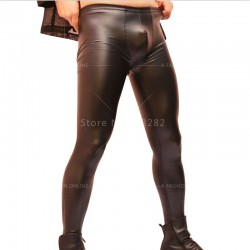 Black  Leather Products Fetish Bottoms Sexy Men's  Pants Trousers Bar Slim Fit  Night Club Stage Performance Leggings