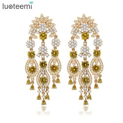 LUOTEEMI New  Europe Style Statement Clear and Yellow CZ Crystal Big Long Tassel Drop Earrings for Women Jewelry Accessories