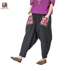 Jiqiuguer  women elastic waist Floral Embroidery harem pants flowers pockets loose casual pants ankle length trousers G163K006