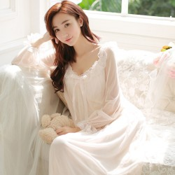 summer women's long-sleeve royal princess nightgown  lace sexy nightdress  aesthetic lounge sleepwear nightwear