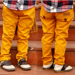 (5 parts / los) children young pure color cotton casual pants button decoration young Bai Sejie fashion pants young jeans