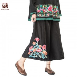 Jiqiuguer Original Women Flowers Embroidery Wide Leg Pants Vintage Plus Size Solid Black Loose Casual Summer Trousers G163K702
